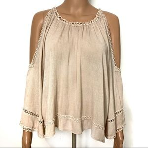 Lumie Cold Shoulder Beige Crochet Tunic Top